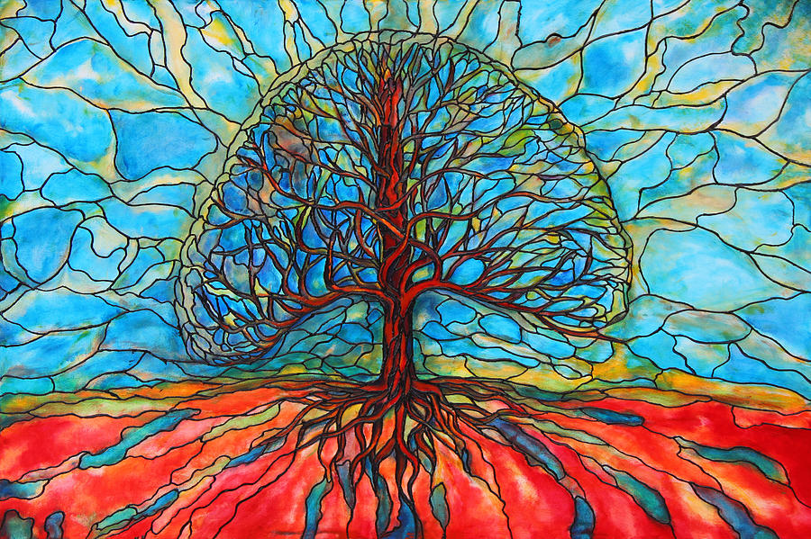 Large Painting - Tree Of Life by Rae Chichilnitsky