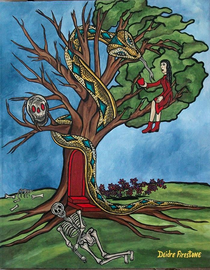 Tree Of Life Painting - Tree Of Life Temptation And Death by Deidre Firestone