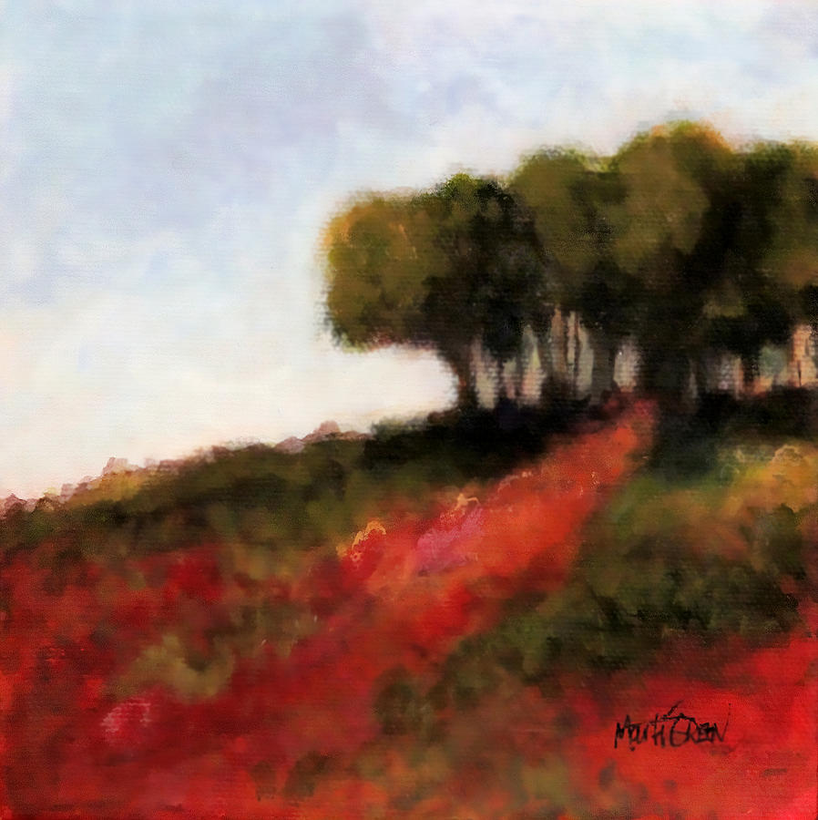 Trees Painting - Trees On The Hill by Marti Green