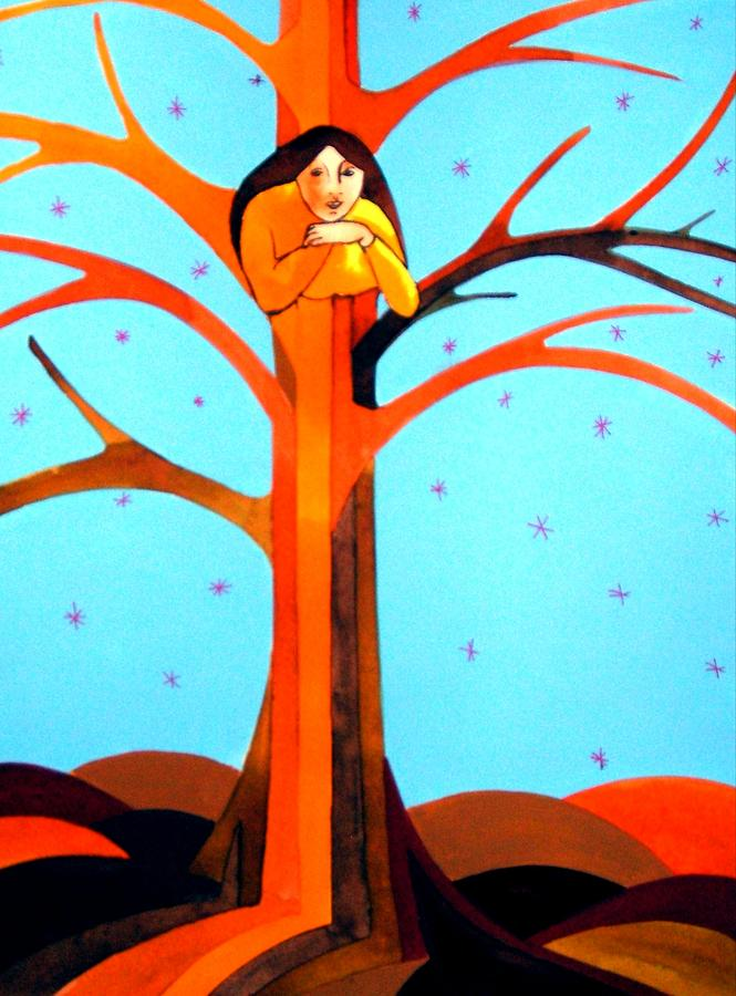 Tree Spirit In Autumns Wake Painting by Jamie Winter