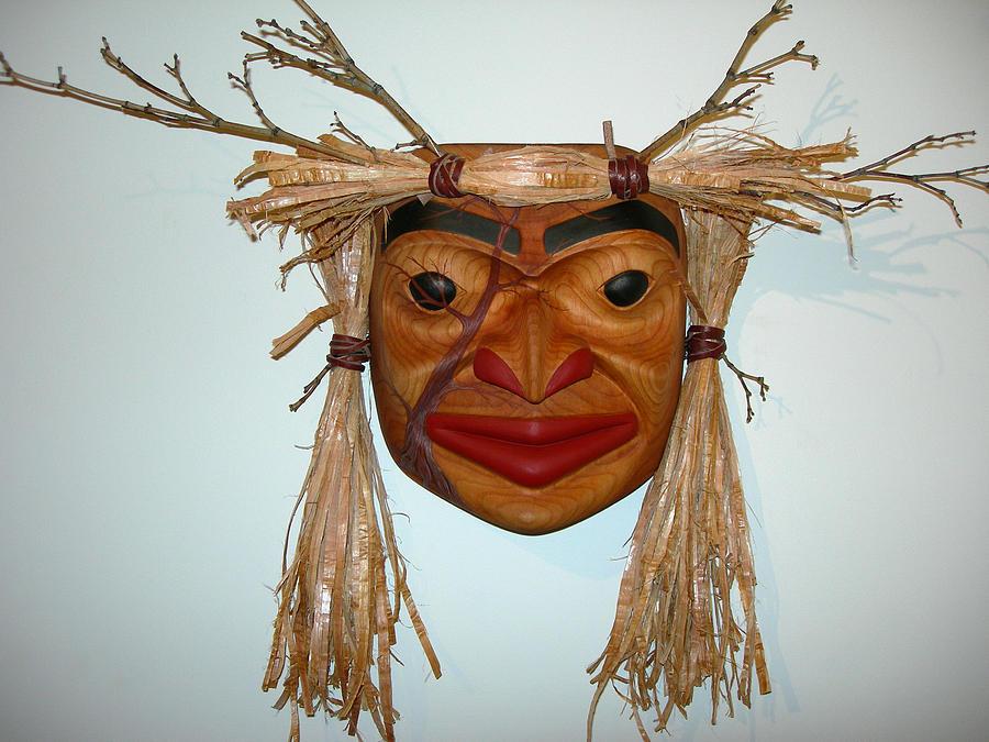 Carving Sculpture - Tree Spirit Portrait Mask by Shane  Tweten