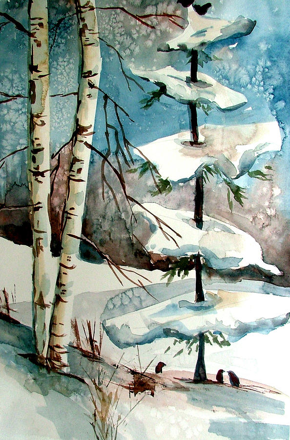 Winter Painting - Tree Talkers by Mindy Newman