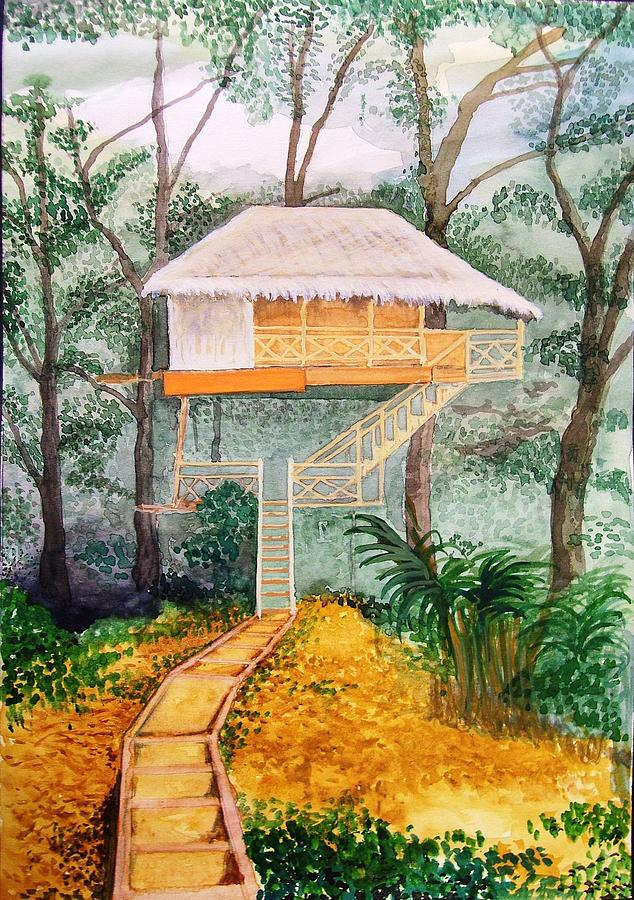 Hut Painting - Tree-top Hut In Kerala-india by Santosh Pagare