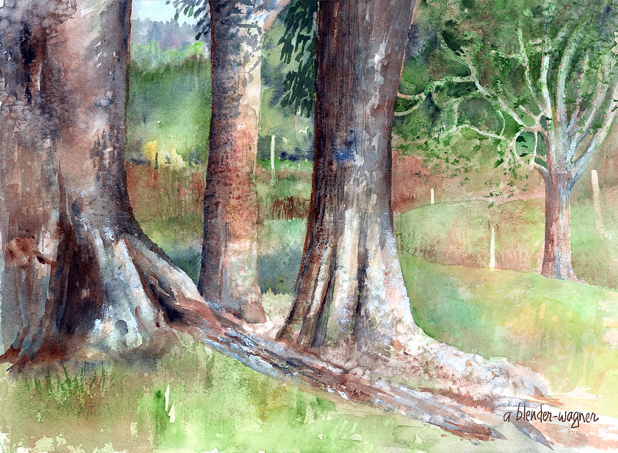 Tree trunks painting by arline wagner for Tree trunk wall art