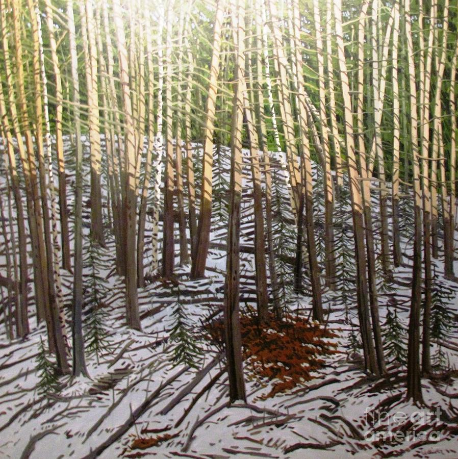 tree trunks snow forest painting by Ted Pollard
