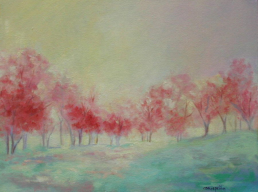 Impressionist Trees Painting - Treeline by Ginger Concepcion