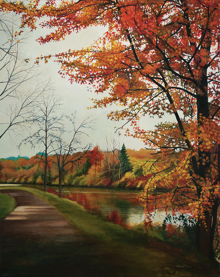 Tree Painting - Trees Along The Canal by Maria Rizzo