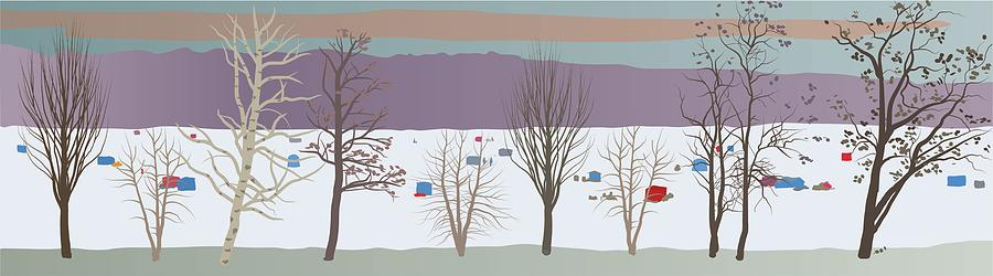 Winter Painting - Trees And Bobhouses by Marian Federspiel