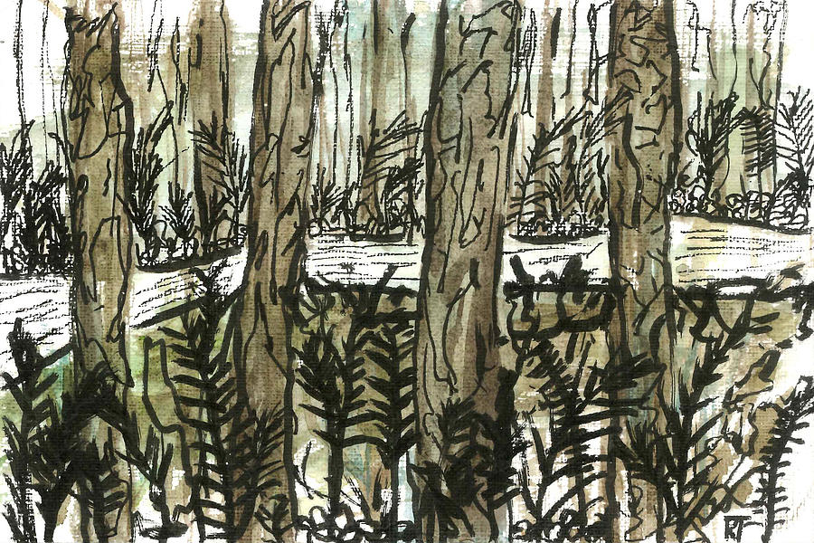Forest Painting - Trees and Path at Night by Katie Ree