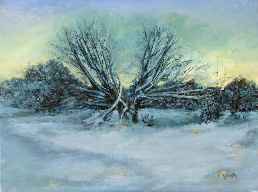 Landscape Painting - Trees and snow by Chris Neil Smith