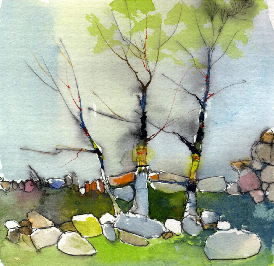 Trees And Wall By Art Bilodeau
