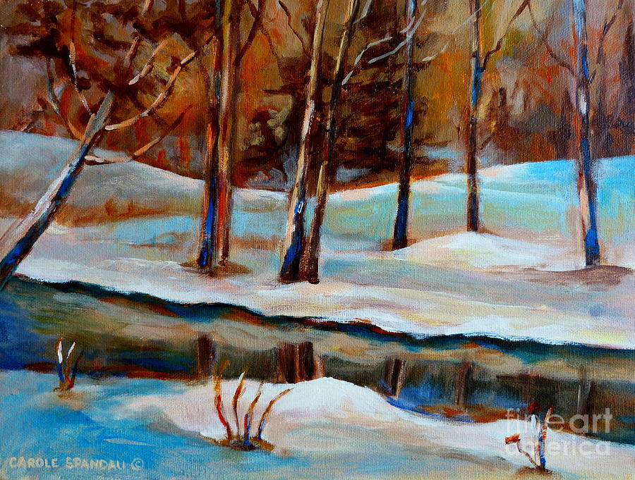 Winter Landscape Painting - Trees At The Rivers Edge by Carole Spandau
