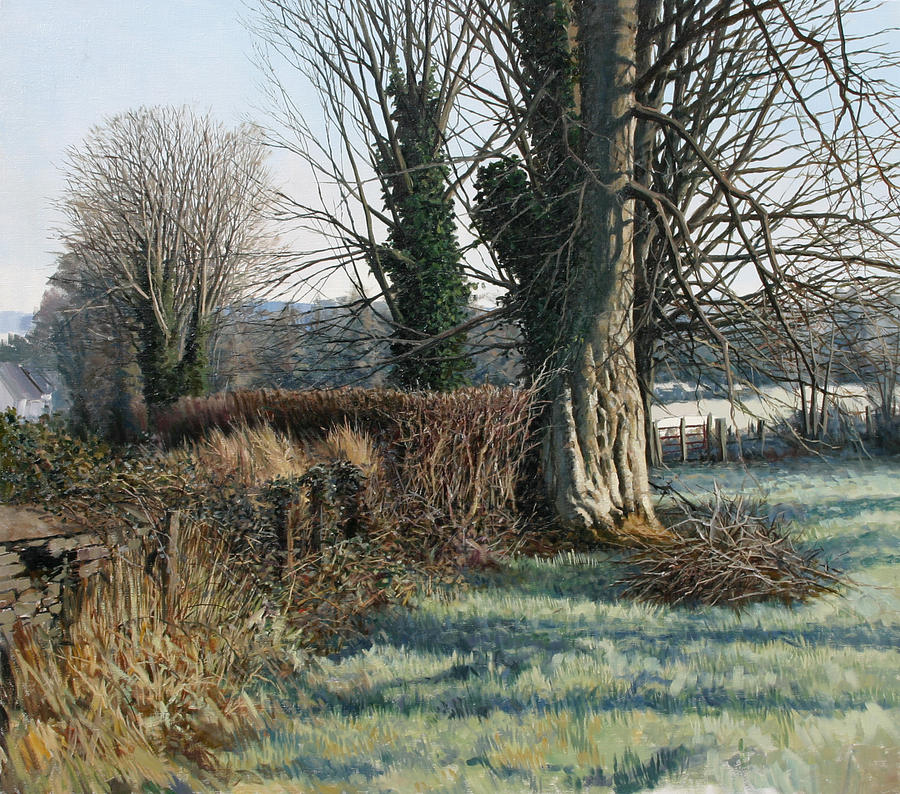 Trees Early Morning In Winter Painting by Eugene Conway