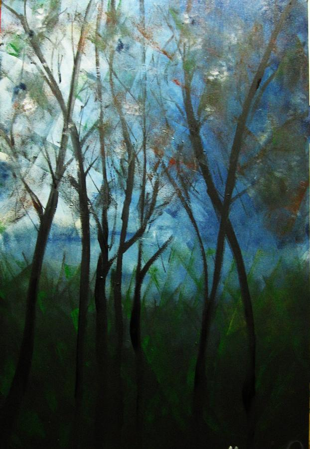 Expressionism Painting - Trees IIi by Marcia Pinho