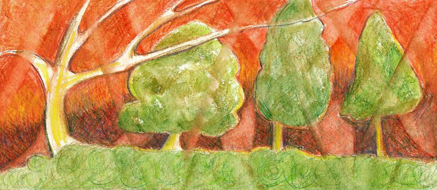 Small Drawing Drawing - Trees In Light by Linda Kay Thomas