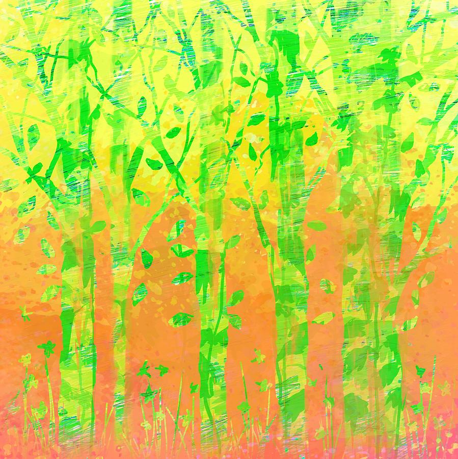 Abstract Digital Art - Trees in the Grass by William Russell Nowicki