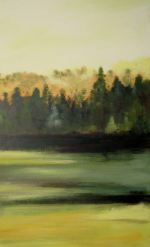 Landscapes Painting - Trees In The Mist by Marcia Crispino