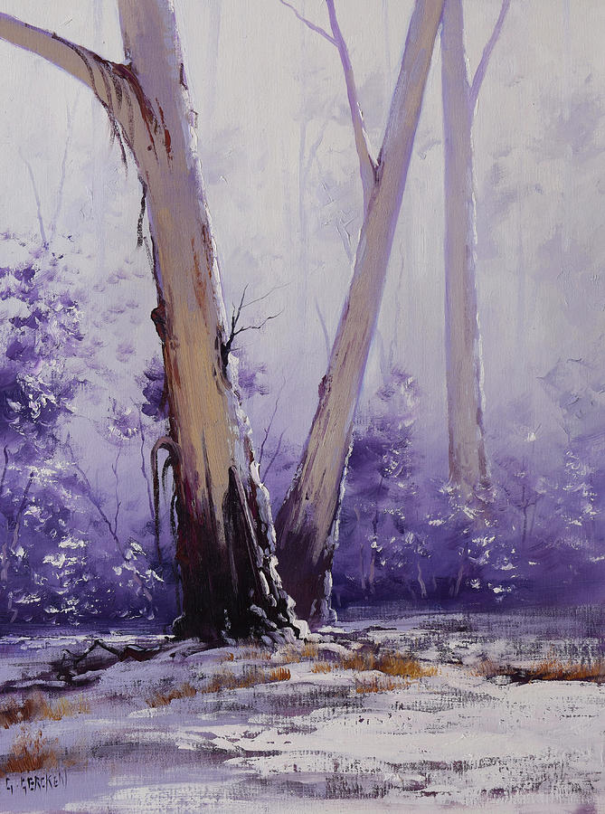 Snow Gum Painting - trees in winter Australia by Graham Gercken