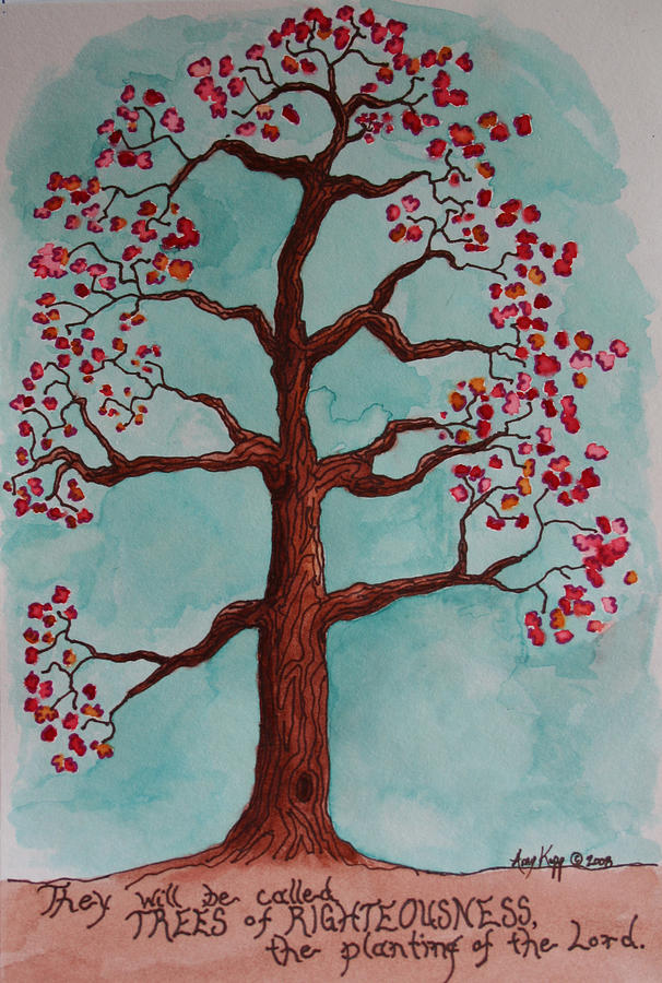 Tree Mixed Media - Trees Of Righteousness Illustration by Amy Parker Evans