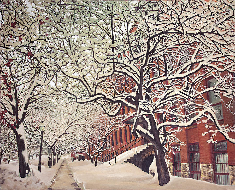 Urban Landscape Painting - Trees On Franklin by Maria Rizzo