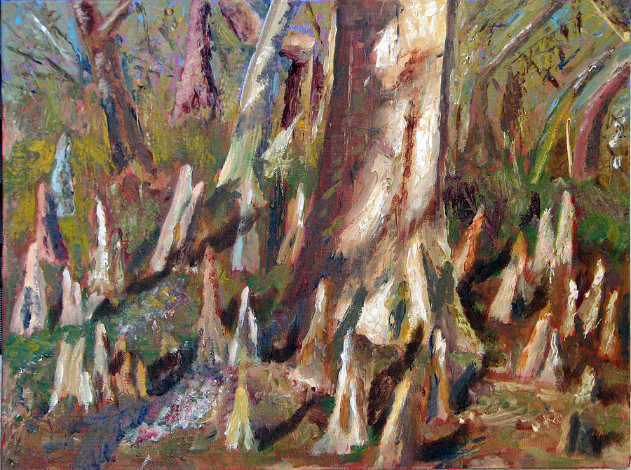 Cypress Painting - Trees With Knees by Libby  Cagle