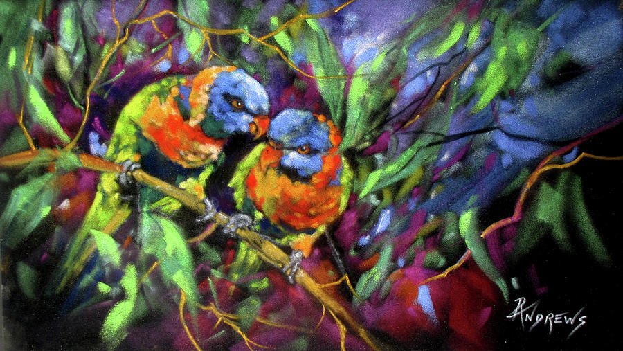 Pastel Painting - Treetop Rascals by Rae Andrews