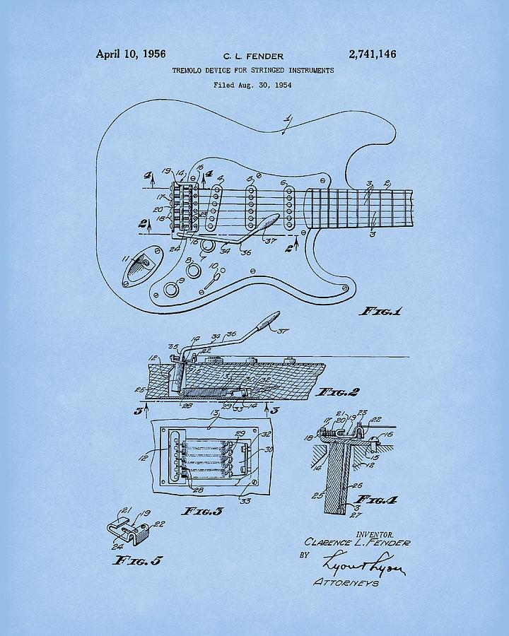 Tremolo Device 1956 Patent Art LightBlue by Prior Art Design