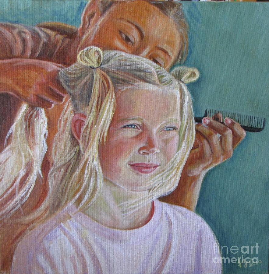 Portrait Painting - Trensitas   Little Braids by Judith Zur