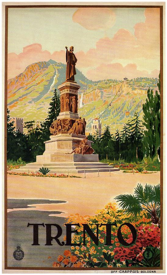 Trento, Italy - Monumnet Of Dante - Retro Travel Poster - Vintage Poster Mixed Media