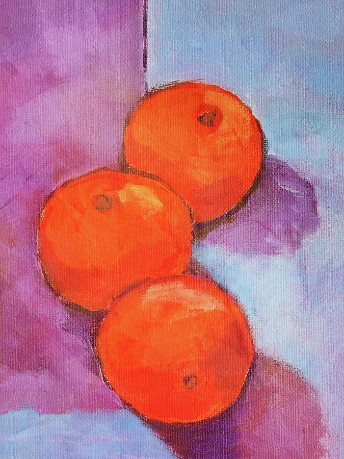 Frutas Painting - Tres Naranjas by Arte Costa Blanca