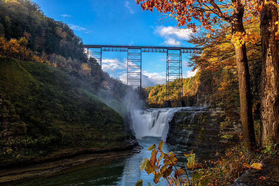Lecthworth S.p. Photograph - Tressel Over The High Falls by Dick Wood