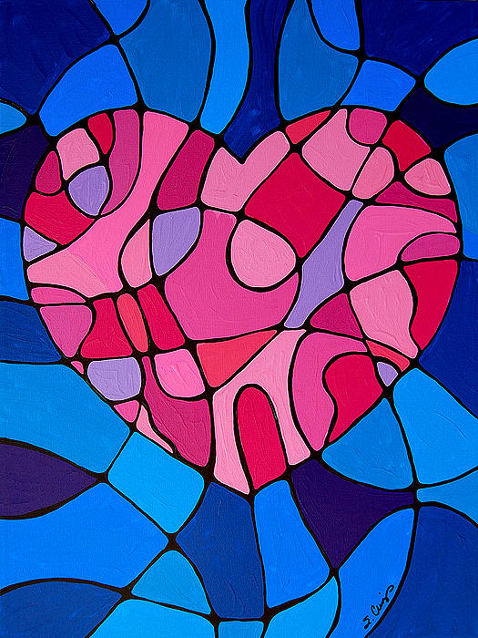 Heart Painting - Treu Love by Sharon Cummings
