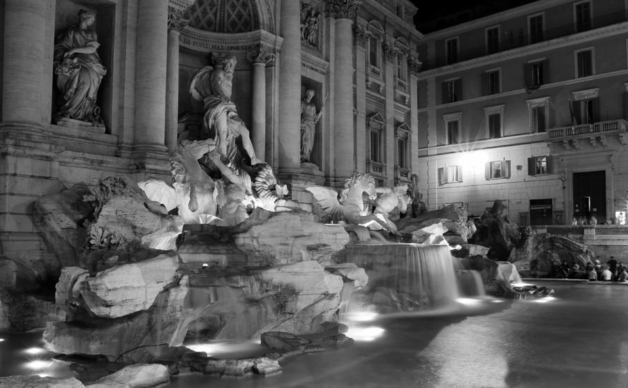 Trevi Fountain Photograph - Trevi Fountain Night 2 by Andrew Fare