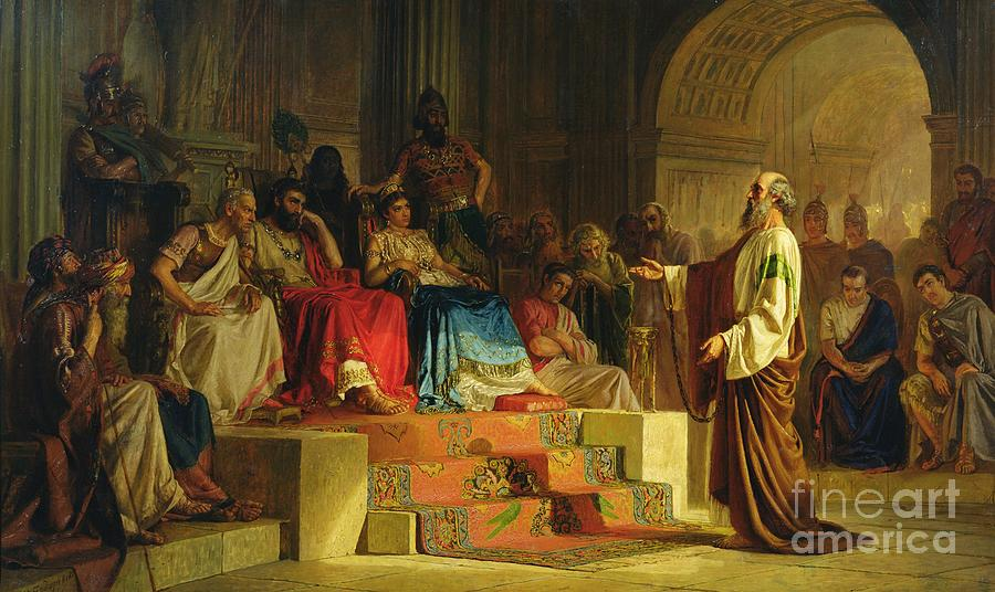 Christian Painting - Trial Of The Apostle Paul by Nikolai K Bodarevski
