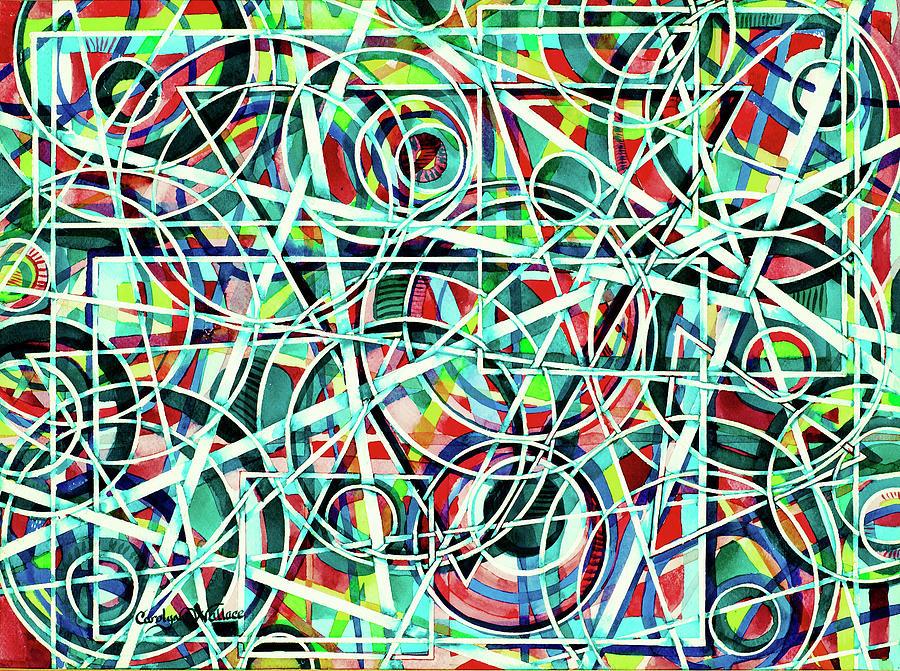 Original Art Painting - Triangle Interlacing by Carolyn Coffey Wallace