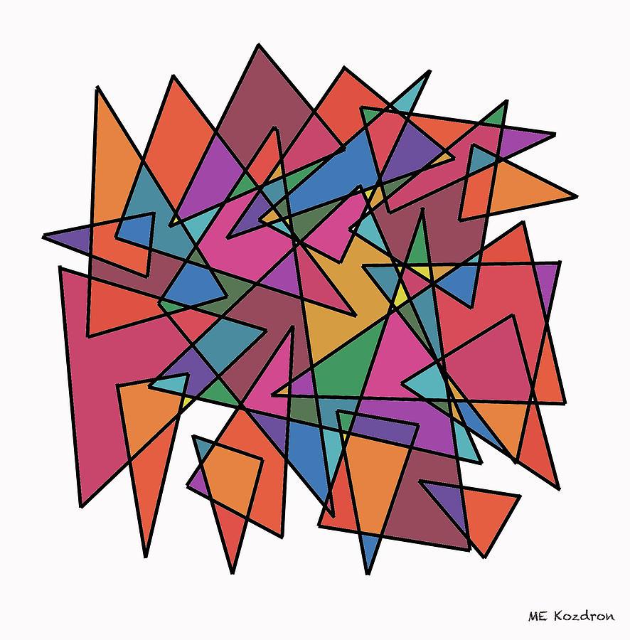 Modern Digital Art - Triangles In Motion by ME Kozdron