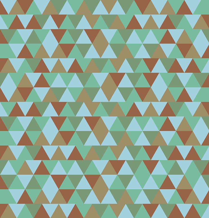 Triangular Geometric Pattern - Blue Green Brown Mixed Media
