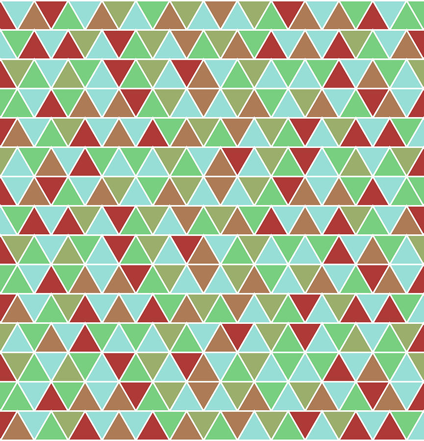 Triangular Geometric Pattern - Blue, Green, Maroon, Brown Mixed Media