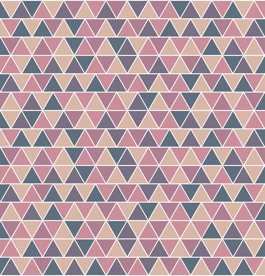 Triangular Geometric Pattern - Warm Colors 01 Mixed Media