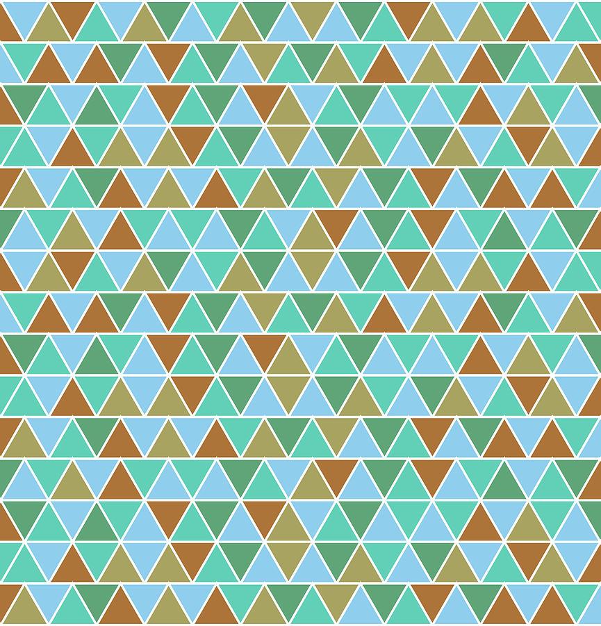 Triangular Geometric Pattern - Warm Colors 02 Mixed Media