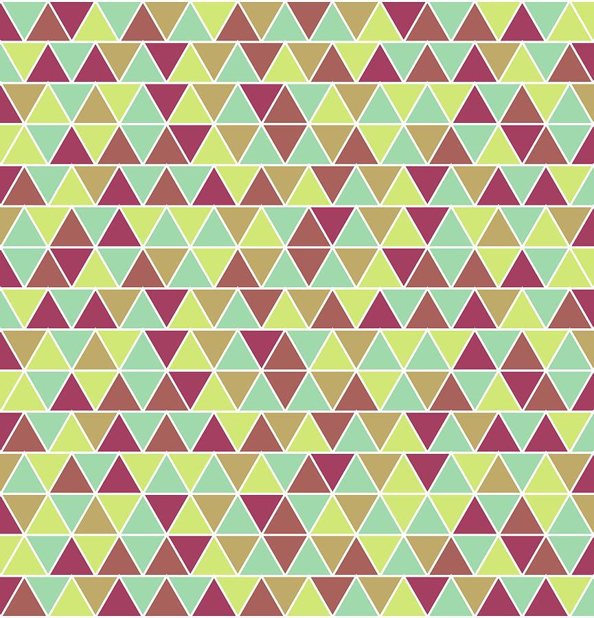 Triangular Geometric Pattern - Warm Colors 03 Mixed Media