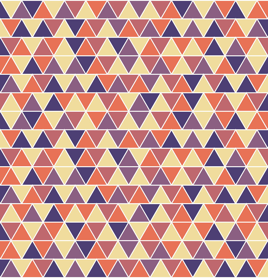 Triangular Geometric Pattern - Warm Colors 04 Mixed Media