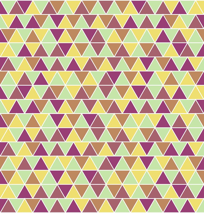 Triangular Geometric Pattern - Warm Colors 05 Mixed Media