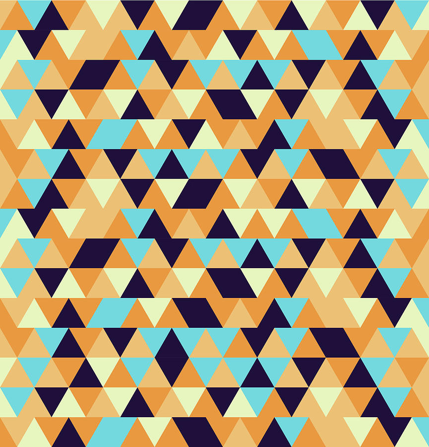 Triangular Geometric Pattern - Warm Colors 06 Mixed Media