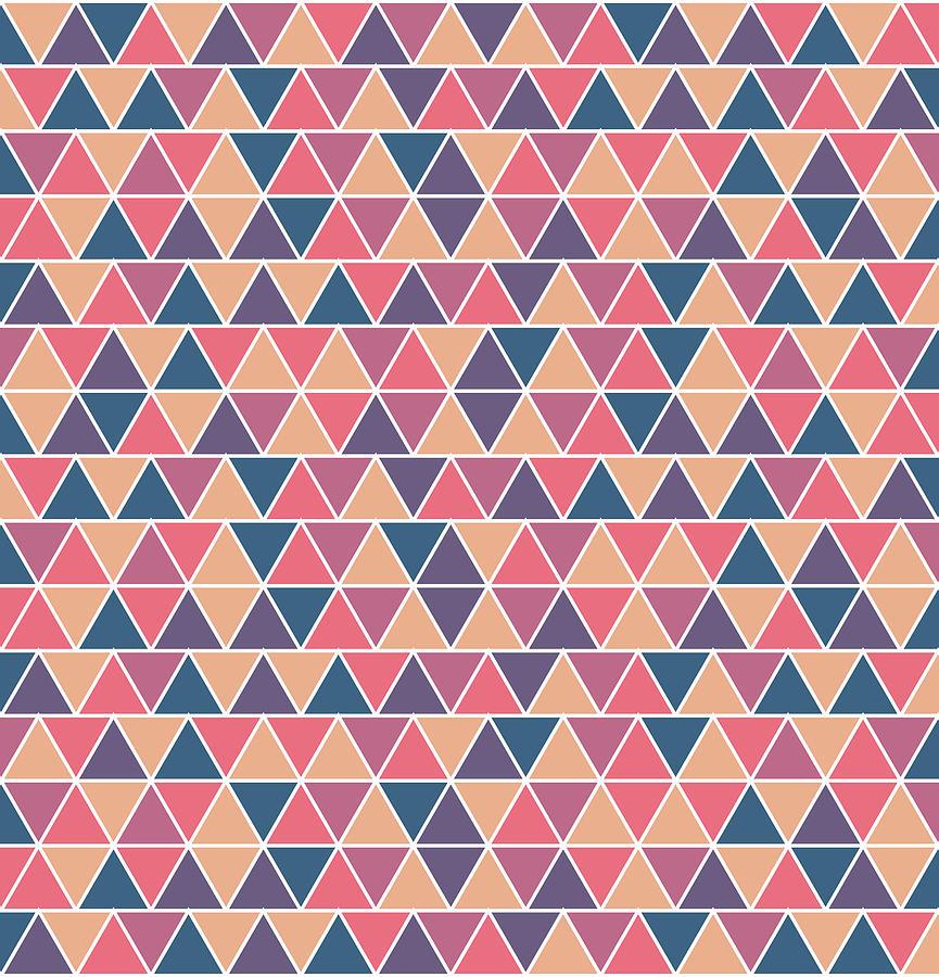 Triangular Geometric Pattern - Warm Colors 07 Mixed Media