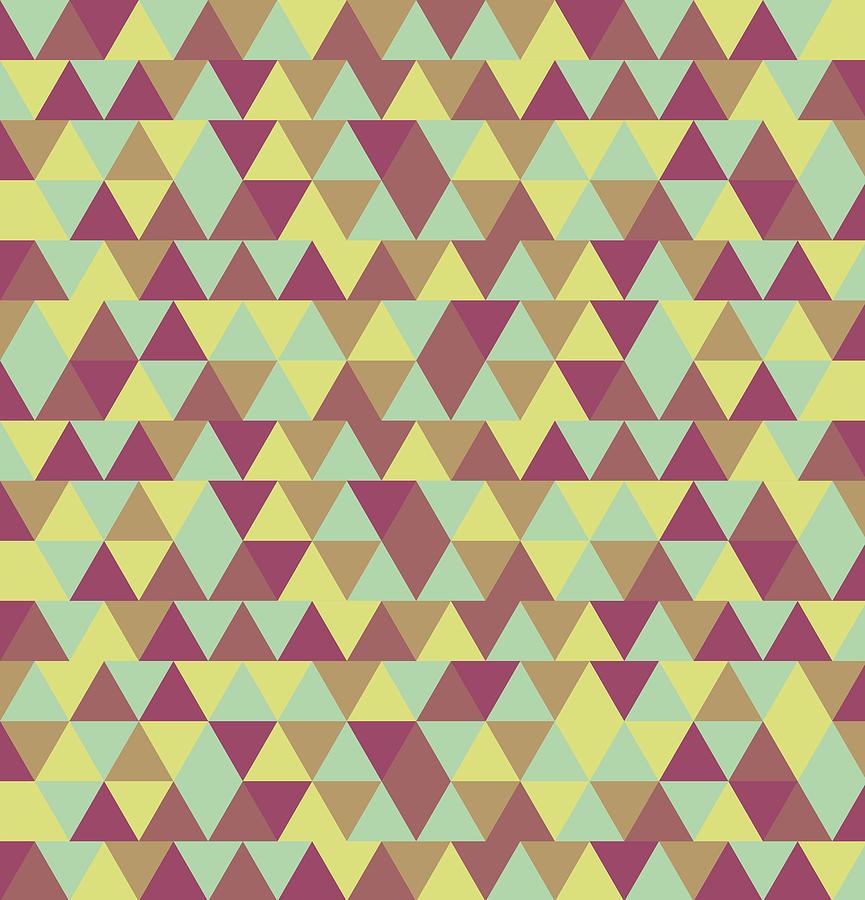 Triangular Geometric Pattern - Warm Colors 08 Mixed Media