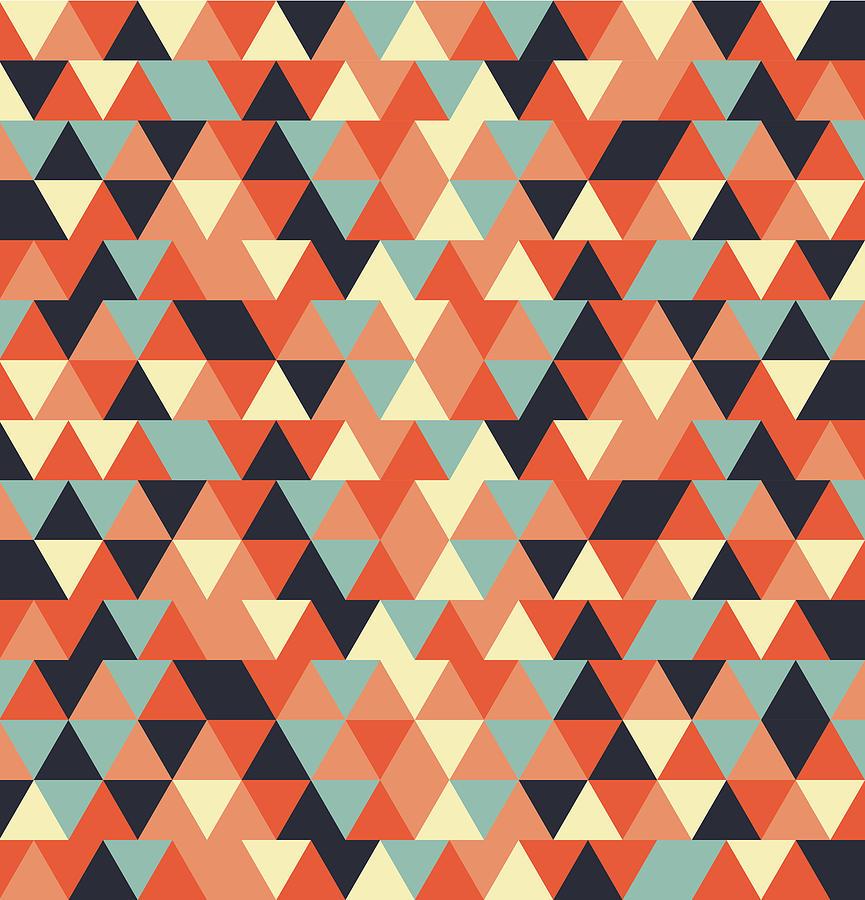 Triangular Geometric Pattern - Warm Colors 09 Mixed Media