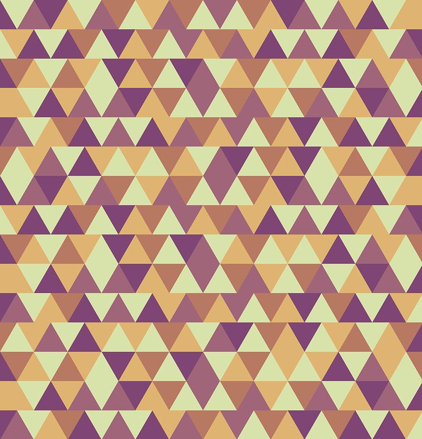 Triangular Geometric Pattern - Warm Colors 10 Mixed Media