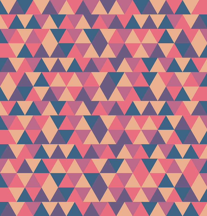 Triangular Geometric Pattern - Warm Colors 11 Mixed Media
