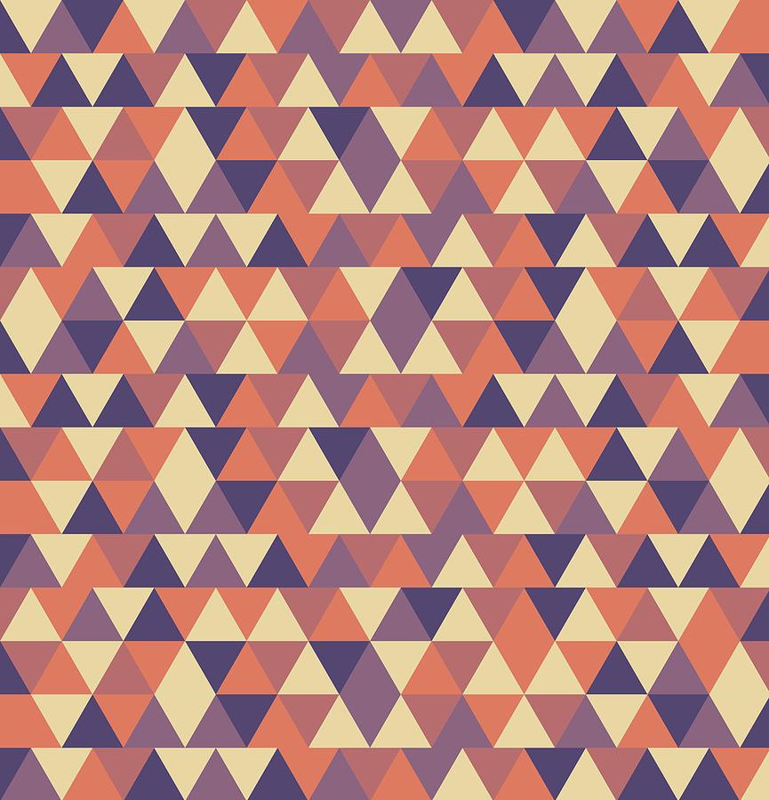 Triangular Geometric Pattern - Warm Colors 12 Mixed Media